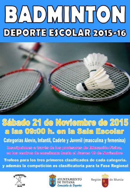 La Concejalía de Deportes organiza el próximo sábado 21 de noviembre la Fase Local de Bádminton de Deporte Escolar, en la Sala Escolar, Foto 1