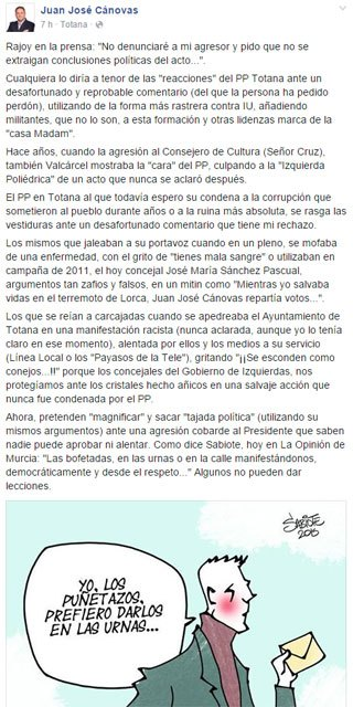 "The mayor is silent on the controversy caused by ""an unfortunate and reprehensible comments"" posted on Facebook after the attack on Rajoy"