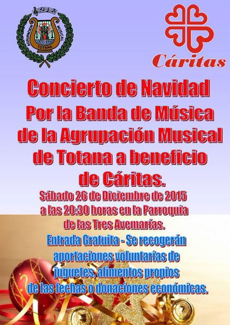 Concert of the musical group of Totana to benefit Caritas
