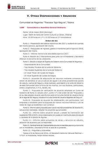 """El BORM publica la Convocatoria a Asamblea General Ordinaria de la Comunidad de Regantes """"Trasvase Tajo-Segura"""" de Totana, Foto 2"""