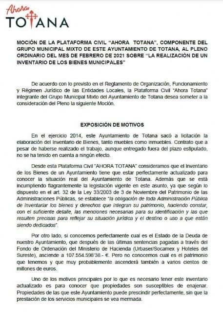 El Pleno aprueba la moción de Ahora Totana sobre la realización con urgencia de un Inventario de Bienes Muebles e Inmuebles y Derechos del Ayuntamiento de Totana - 1, Foto 1