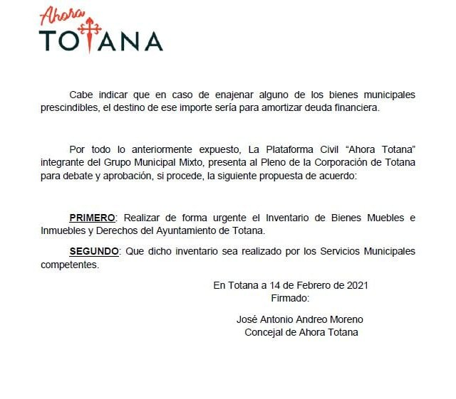El Pleno aprueba la moción de Ahora Totana sobre la realización con urgencia de un Inventario de Bienes Muebles e Inmuebles y Derechos del Ayuntamiento de Totana - 2, Foto 2
