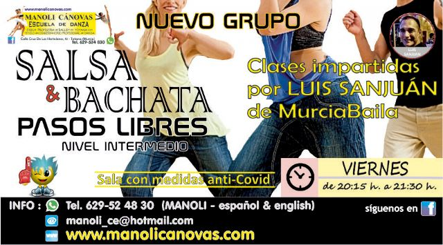 [Clases de pasos libres de salsa y bachata en la Escuela de Danza Manoli Cánovas, Foto 1