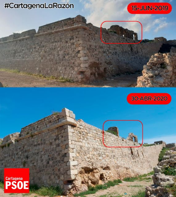 El PSOE exige que se actúe con carácter de urgencia en el Castillo de los Moros tras el derrumbe de una parte de uno de los tres baluartes - 1, Foto 1