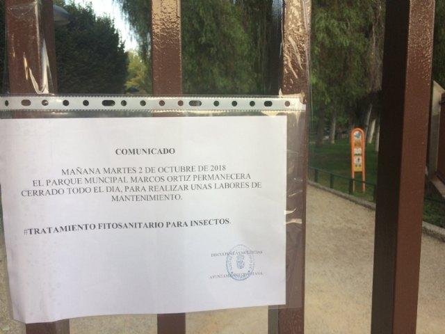 """Mañana permanecerá cerrado el parque municipal """"Marcos Ortiz"""" por los trabajos de tratamiento fitosanitario para insectos, Foto 3"""