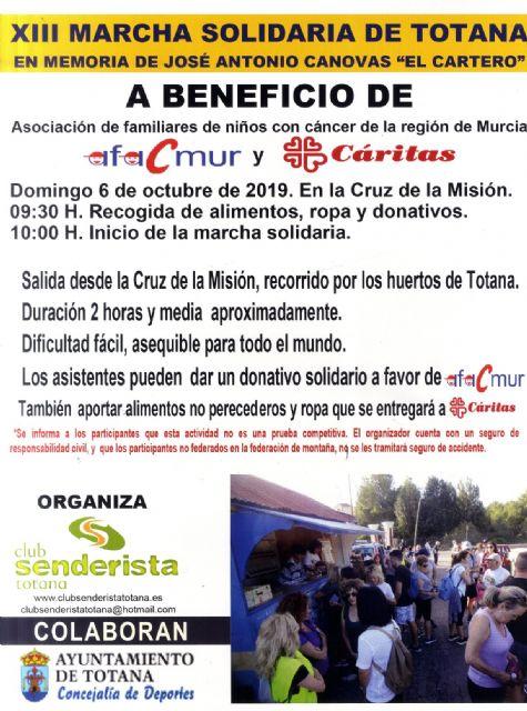 El Club Senderista de Totana comienza el calendario de actividades para la temporada 2019/20 con la XIII Marcha Solidaria que se celebra este domingo 6 de octubre, Foto 2