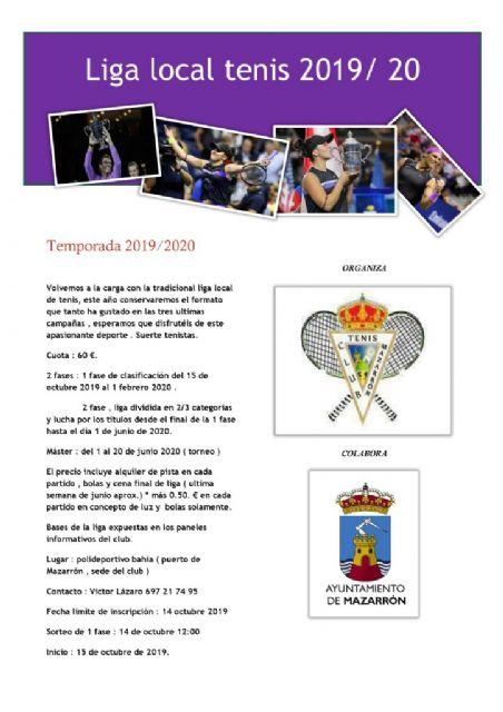 Abierto el plazo de inscripción para la liga local de tenis 2019/2020, Foto 1