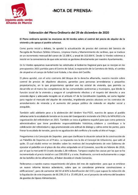 Valoración del Pleno Ordinario del 29 de diciembre de 2020. IU Verdes, Foto 1