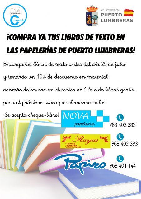 La Concejalía de Comercio lanza una campaña para fomentar la compra de libros de texto en las papelerías y librerías de Puerto Lumbreras - 3, Foto 3