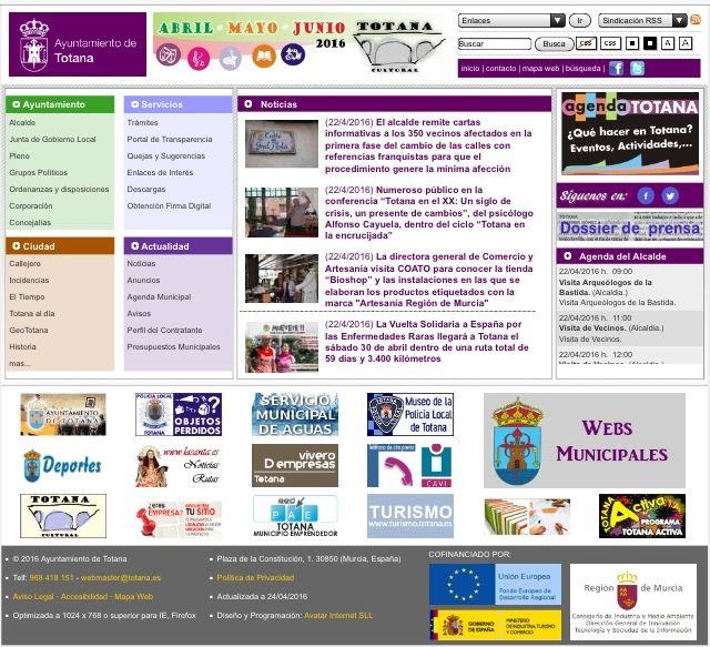 El Dossier de Prensa y la Agenda del Alcalde son las secciones que suscitan mayor interés entre los usuarios de la web corporativa Totana.es, Foto 1