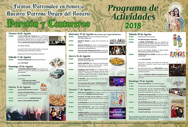 More than thirty activities make up the program of patron festivities of El Paretón-Cantareros, in honor of the Virgen del Rosario - 2