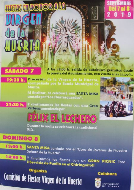 The festivities in honor of the Virgen de la Huerta are celebrated in this deputation next weekend of September 7 and 8