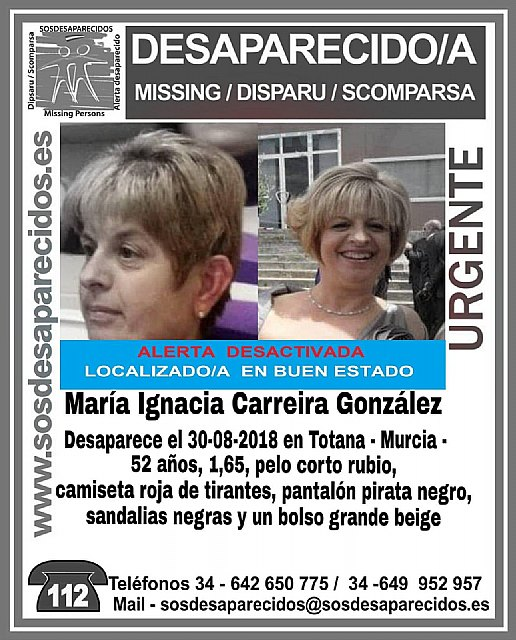 They find the neighbor of Totana disappeared at the end of August, María Ignacia Carreira The mayor has made an institutional thanks to all the Security Forces and to all the people of Totana who participated in the search device. one month - 1