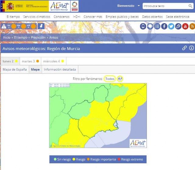 Meteorología establece la alerta amarilla por lluvias en Cieza para este lunes - 1, Foto 1