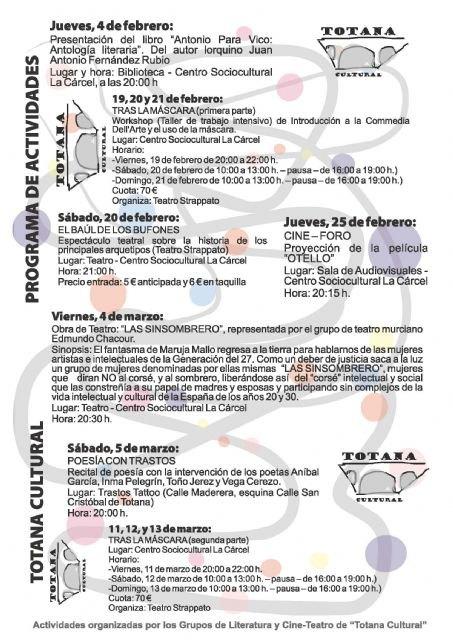 """Se presenta el programa de actividades del """"Totana Cultural"""" para los meses de febrero y marzo, Foto 2"""