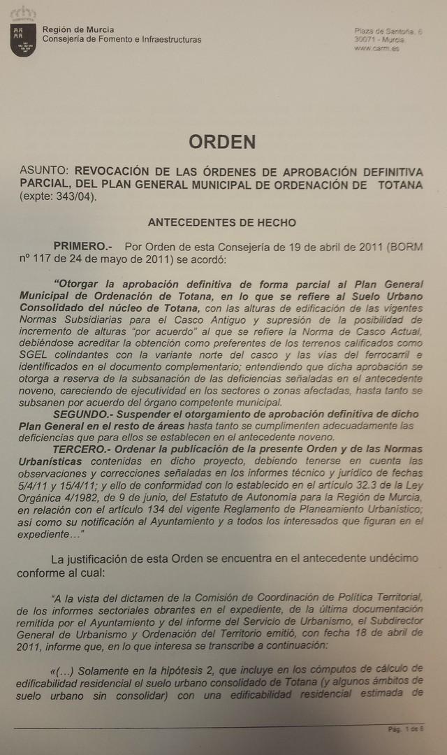 El consejero de Fomento e Infraestructuras de Murcia revoca y anula la Orden de aprobación parcial (casco urbano) del PGMO de Totana, Foto 1
