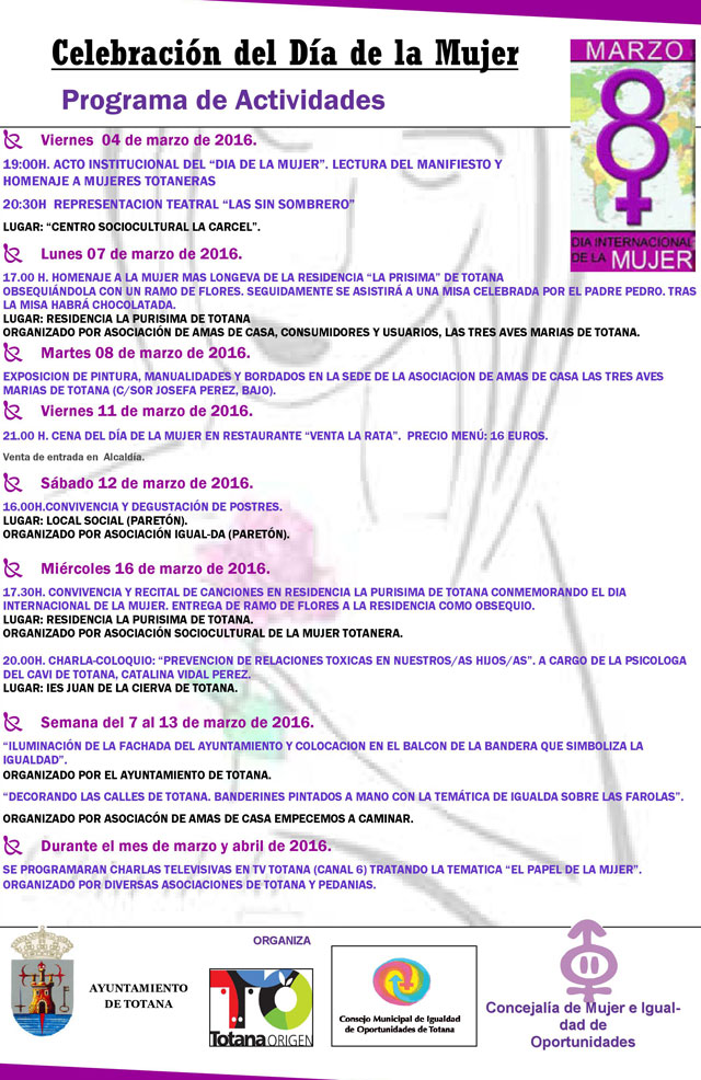 La Concejalía de Igualdad organiza un amplio programa de actividades con motivo del Día de la Mujer, Foto 2