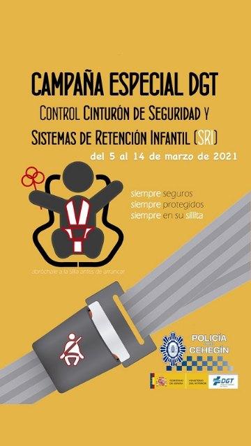 La Policía Local de Cehegín se suma a la campaña de la DGT para fomentar el uso del cinturón de seguridad y los sistemas de retención infantil - 1, Foto 1