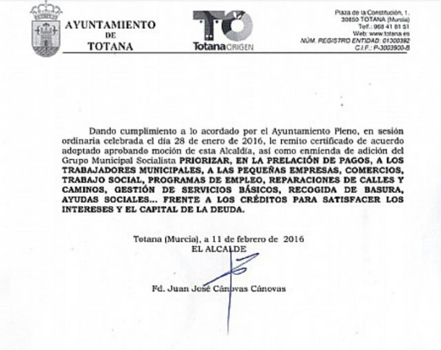 "Juan José Cánovas informed the Plenary of his actions when he ""ignored the objections of intervention"" by altering the Priority of Payments contained in article 135 of the Constitution during his time in charge of the mayor's office, Foto 2"