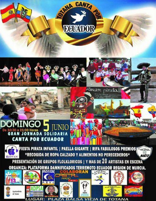 El evento solidario Totana canta por Ecuador tendrá luego este domingo 5 de junio en la Plaza de la Balsa Vieja, Foto 2
