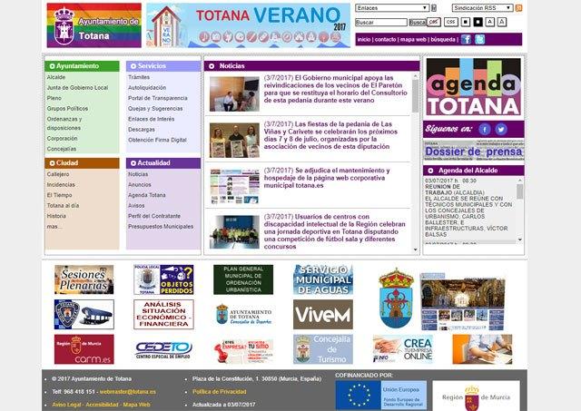 Se adjudica el mantenimiento y hospedaje de la página web corporativa municipal, totana.es, Foto 1
