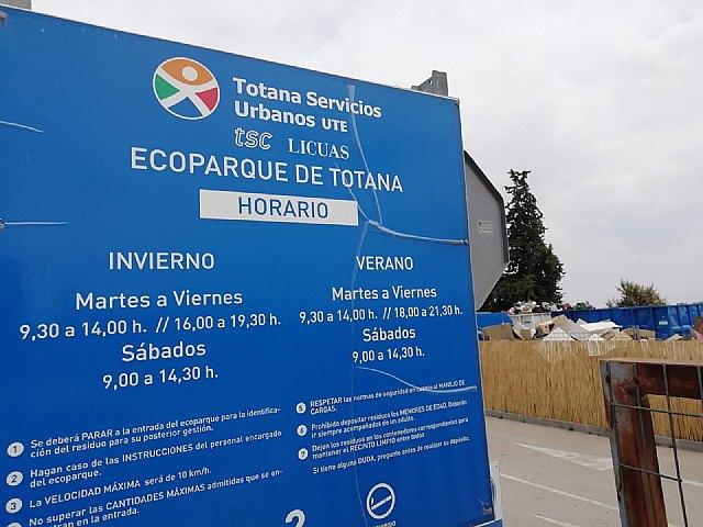La Concejalía de Medio Ambiente recuerda el horario del ecoparque municipal durante los meses del verano