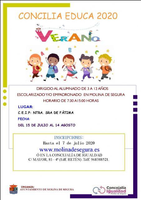 La Concejalía de Igualdad de Molina de Segura amplía hasta el día 7 de julio el plazo de inscripción en el servicio especial Concilia Verano 2020 por vía telemática - 1, Foto 1
