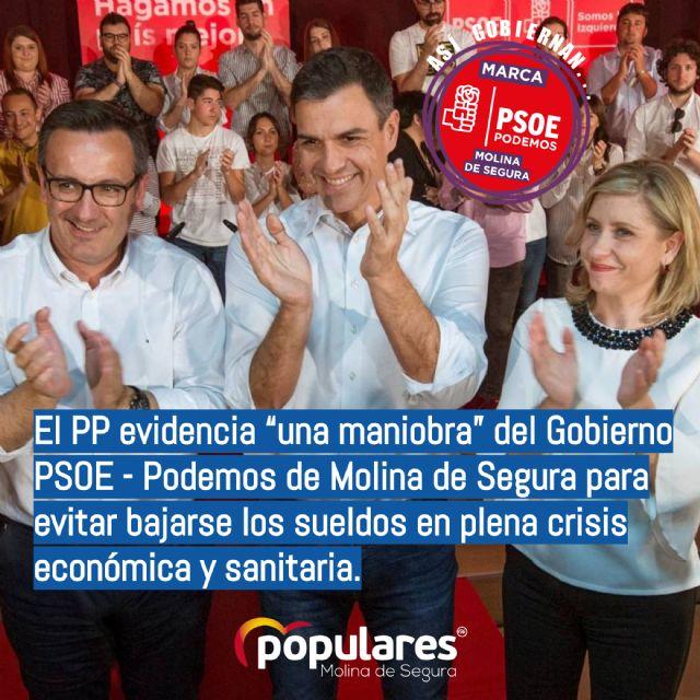 El PP evidencia una maniobra del Gobierno PSOE - Podemos de Molina de Segura para evitar bajarse los sueldos en plena crisis económica y sanitaria - 1, Foto 1
