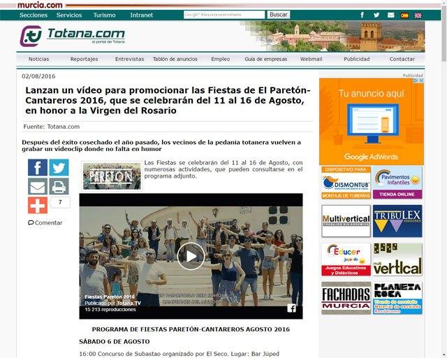 El vídeo promocional de las Fiestas de El Paretón-Cantareros 2016 arrasa con más de 15.000 reproducciones en Totana.com, en menos de 24 horas, Foto 5