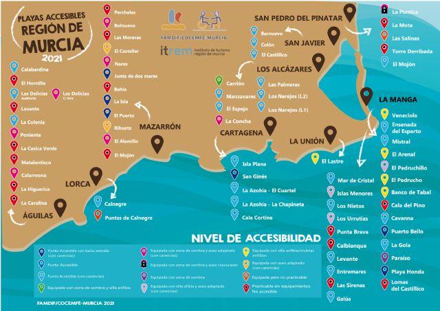 FAMDIF ha evaluado 71 playas de la Región de Murcia y 32 son Puntos Accesibles - 3, Foto 3