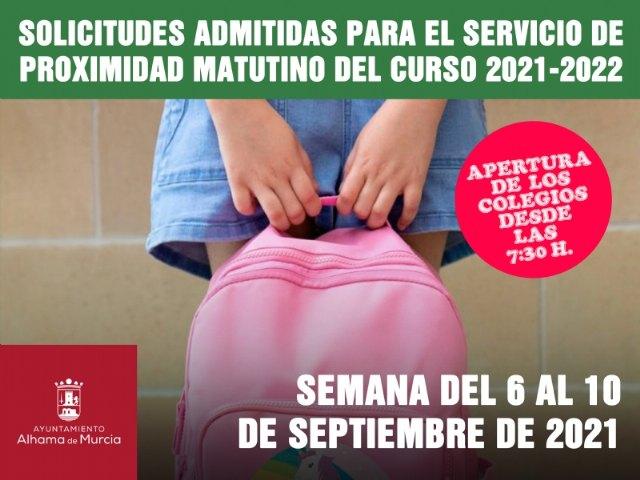 Solicitudes admitidas para el Servicio de Proximidad Matutino. Semana del 6 al 10 de septiembre de 2021, Foto 1