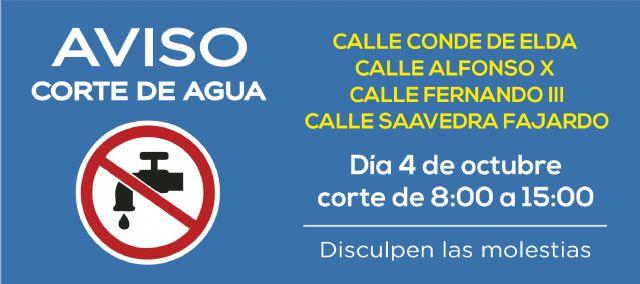 AVISO: corte de agua el jueves 4 de octubre en calle Alfonso X y adyacentes, Foto 1