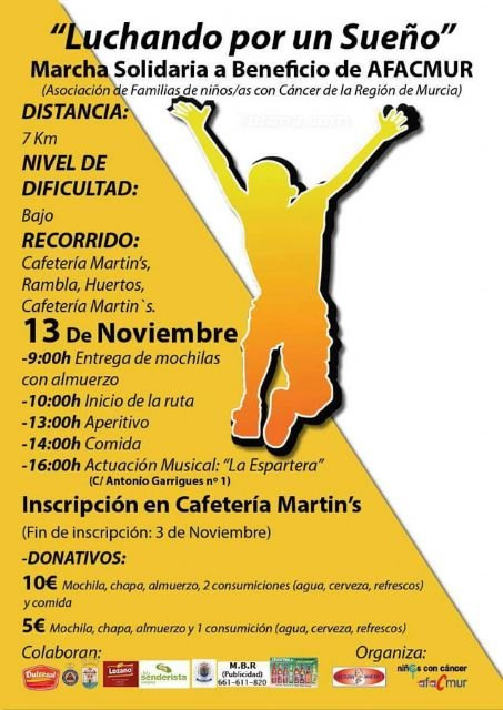 La Marcha Solidaria a beneficio de AFACMUR se celebrará el domingo 13 de noviembre, con una convivencia y actividades durante toda la jornada, Foto 2
