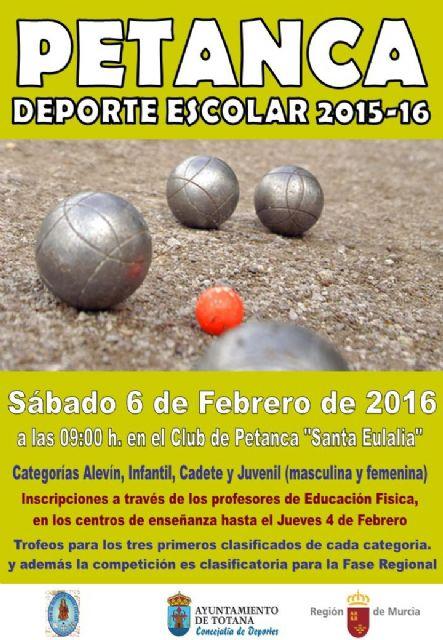 El próximo sábado tendrá lugar la Fase Local de Petanca de Deporte Escolar, Foto 1