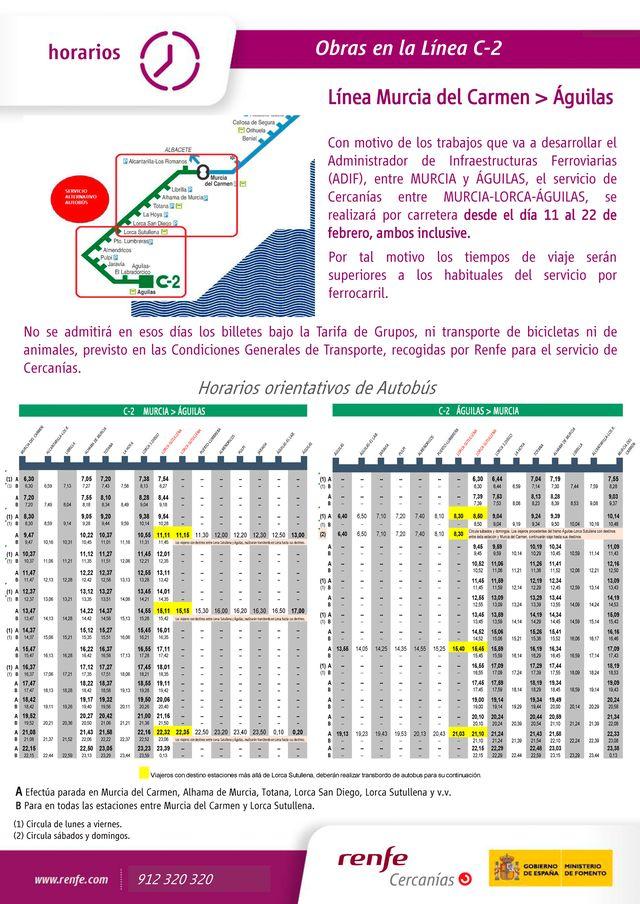 Horarios de transporte alternativo en autobús por obras en la línea de cercanías de RENFE del 11 al 22 de febrero, Foto 1