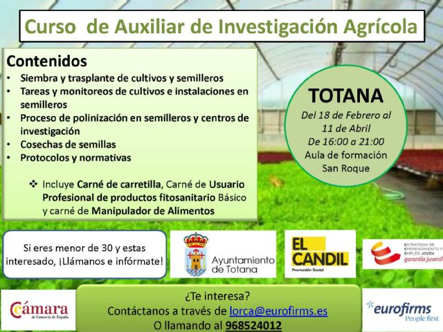 "The Town Hall and the Collective for Social Promotion ""El Candil"" organize an Agricultural Research Assistant Course"