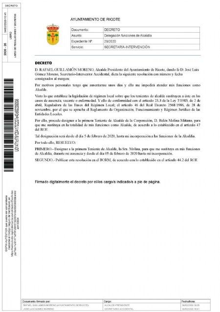 Decreto de alcaldía Ricote - 1, Foto 1