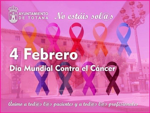 [Totana se suma a la celebración el Día Mundial contra el Cáncer lamentando la situación de fragilidad social y sanitaria de los enfermos y sus familias a raíz de la pandemia