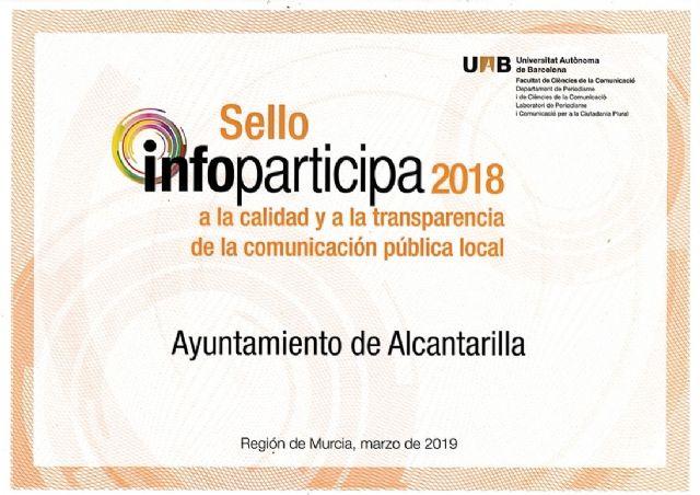 Alcantarilla renueva, por tercer año consecutivo, el SELLO INFOPARTICIPA a la transparencia de la comunicación pública local - 1, Foto 1