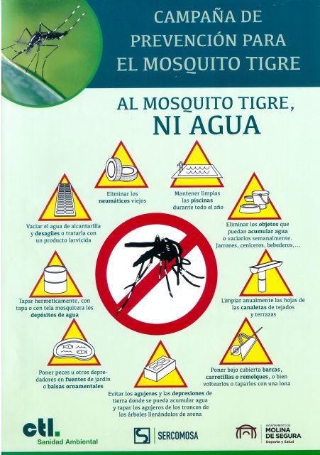 El Ayuntamiento de Molina de Segura promueve la nueva campaña de prevención AL MOSQUITO TIGRE, NI AGUA - 1, Foto 1