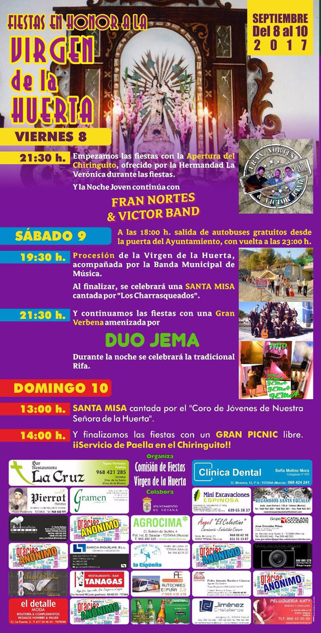 The celebrations of La Huerta 2017 will be celebrated this weekend, from the 8 to the 10 of September - 2
