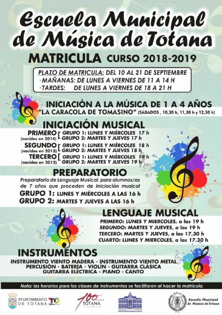 The Municipal School of Music of Totana opens the registration period for the 2017/2018 academic year, from September 10 to 21, Foto 1