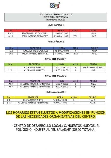 La extensión de la Escuela Oficial de Idiomas de Totana publicará el 7 de octubre las plazas vacantes para matricularse en el curso 2016/17, Foto 3