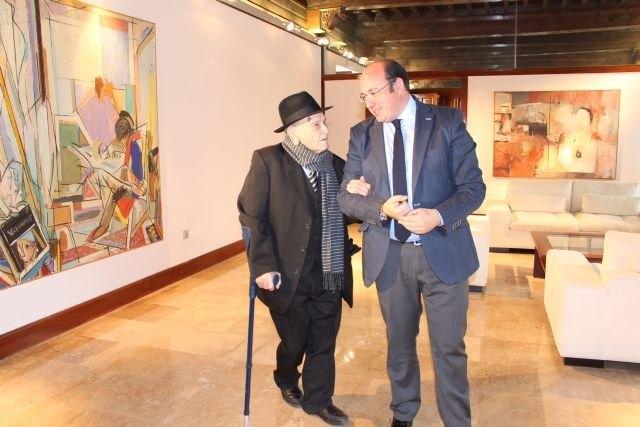 El presidente de la Comunidad recibe al 'tío Juan Rita', trovero murciano que la próxima semana cumple 104 años, Foto 1