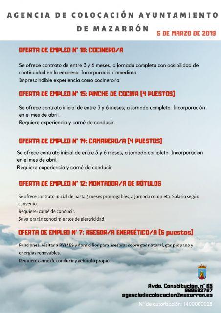 Ofertas de empleo de la Agencia Municipal de Mazarrón 05/03/2019 - 1, Foto 1