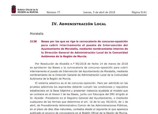 La convocatoria para la plaza de interventor promovida por el Ayuntamiento de Moratalla ha sido publicada hoy en el BORM - 1, Foto 1