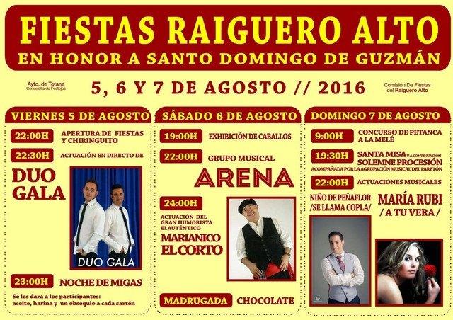 Las fiestas de El Raiguero Alto en honor a Santo Domingo de Guzmán se celebrarán desde hoy hasta el domingo, Foto 1