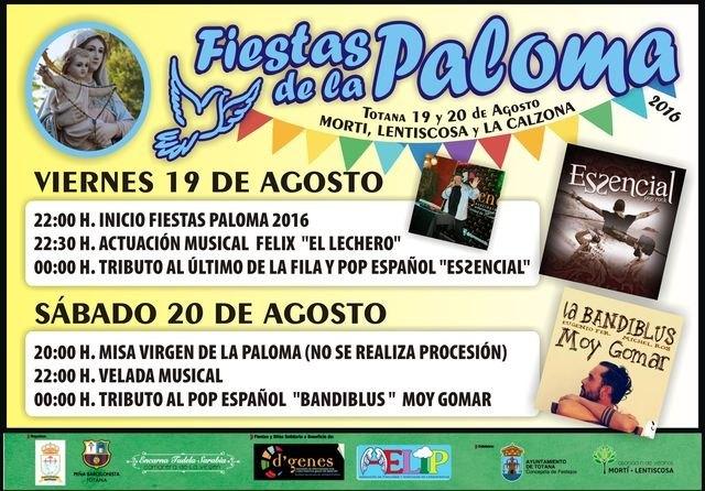 Las fiestas solidarias de La Paloma en Mortí, Lentiscosa y La Calzona se celebrarán los días 19 y 20 de agosto, Foto 5