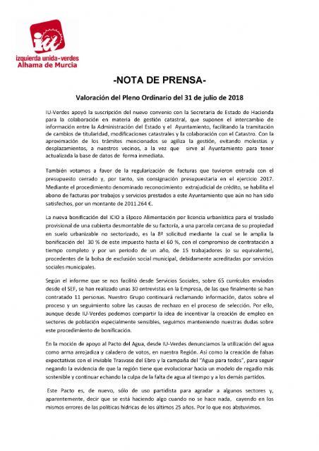 Valoración del Pleno Ordinario del 31 de julio de 2018. IU-verdes, Foto 1