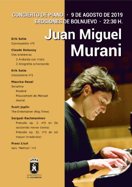 La música clásica regresa este viernes a las Erosiones de Bolnuevo de manos del pianista totanero Juan Miguel Murani - 2, Foto 2